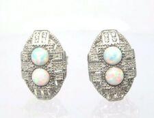 Opale Orecchini chiusura a farfalla argento 925 Art Deco Stile