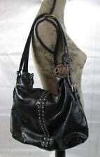 MICHAEL KORS Black Leather UPTOWN ASTOR Studded Hobo Shoulder Bag
