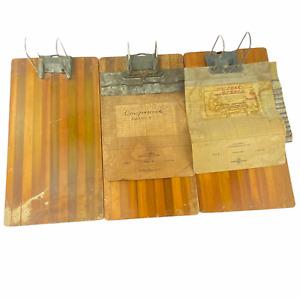 Vintage Globe Wernicke Wood Metal Receipt Note Clipboard Advertising Lot of 3