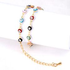 Charm Womens Evil Turkish Enamel Jewelry 18k Gold Plated Chain Eye Bracelet