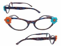 Women's 2.50 Strength Cat Eye Reading Glasses with Orange and Blue Flowers