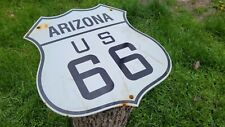 VINTAGE STATE OF ARIZONA ROUTE 66 PORCELAIN ENAMEL HIGHWAY METAL ROADWAY SIGN