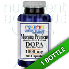 Mucuna Pruriens Extract 1000mg 200 Caps L-Dopa Velvet Bean by Vitamins Because