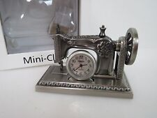 Vintage Metal Timex 44818 Novelty Mini Clock Sewing Machine Quilter