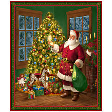 """Quilting Treasures Santa Christmas Tree Gifts 100% Cotton Fabric 36"""" Quilt Panel"""