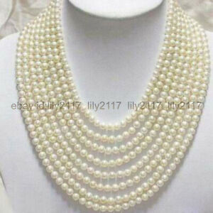 Hot ! 17-24 Inch Beautiful 8 Rows 7-8mm Genuine White Freshwater Pearl Necklace