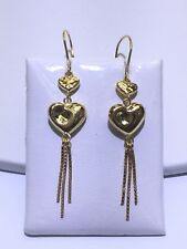 18K Solid Yellow Gold Diamond Cut Heart Dangling Box Chain Earrings Hook Backing