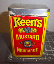 Keens Mustard 4 oz spice tin, paper label, Canada made, great colors & graphics
