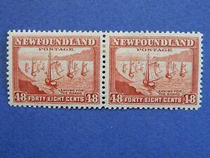 "Newfoundland #266 MH  fresh, red-brown 48c pair ""Fishing Fleet""   CV=$9.50"