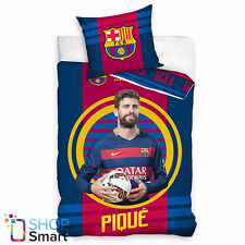 FC BARCELONA FOOTBALL CLUB TEAM PIQUE SIDE SINGLE DUVET COVER PILLOW CASE NEW