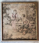 Antique French Tapestry 19th Century Courting Pastel Colored  Custom Frames