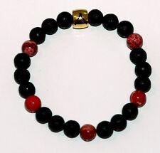 Prometheus Charon Bracelet - Black Lava Stone with Red Feature Stones