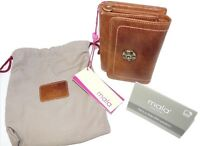 Mala leather 3299 88 NEW RFID Protection trifold purse NEW tudor collection tan