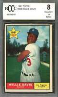 Willie Davis Rookie Card 1961 Topps #506 Los Angeles Dodgers BGS BCCG 8