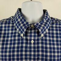 Brooks Brothers 346 Non Iron Slim Fit Blue White Check Dress Button Shirt Sz XL