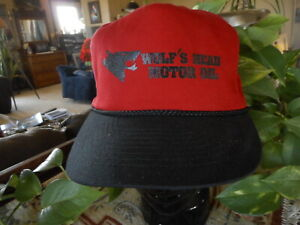 Wolfs Head Motor Oil Red Vintage Snap back Hat Cap Old School Gas Oil Collect