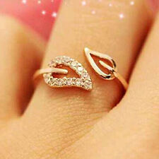 New Fashion Simple Two Leaves Design Free Size Crystal Ring For Girls Women