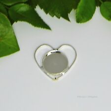 16mm Round Silver Plated Heart Shape Cabochon (Cab) Drop Setting (#A5-45)