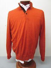 Polo Ralph Lauren Slim Fit Burnt Orange Suede Placket Mock Turtleneck Sweater L