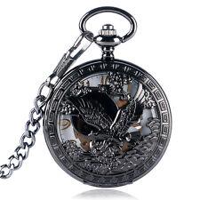 Black Steampunk Skeleton Mechanical Eagle Pocket Watch Pendant Men's Xmas Gift