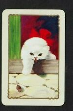 1 COLES SWAP PLAYING CARD 1950 UNNAMED CAT KITTEN RED BOW & MOUSE