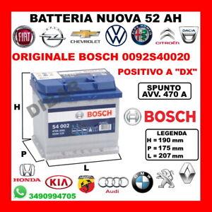 Battery 52AH BOSCH New Autobianchi A 111-112 0.9-1.0-1.4 Mens Year 1969 149