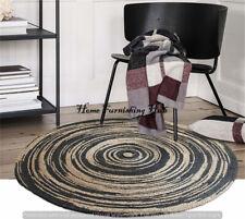 Indian Braided Carpet Reversible Round-8 Ft Handmade Natural Jute Dhurrie Rug