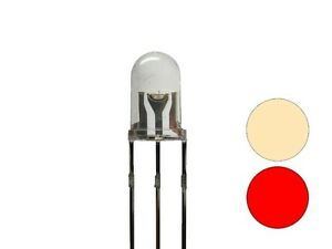 S680 20 Piece Duo Leds 5mm Bi-Color Warm White Red 3-pin Changing Light Loks