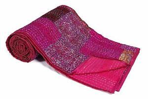 Silk Patola Patchwork Indian Handmade Queen Cotton Kantha Quilt Throw Bedspread