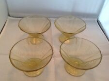 Set of 4 Amber Yellow Federal Madrid Depression Glass Dessert Sherbet Cups