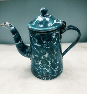 Antique Enamelware /Graniteware Chrysolite Teal blue Green Coffee Pot Hinged Lid