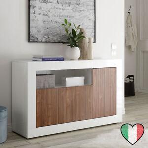Credenza Buffet Noce/Laccato Bianco 3 ante - Urbino - Made in Italy