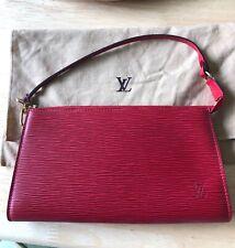 LOUIS VUITTON AUTHENTIC  Red Epi Leather Pochette Handbag Clutch Wristlet