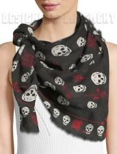 """ALEXANDER MCQUEEN black & red SKULL & ROSES modal/wool 41x47"""" scarf NWT Authentc"""