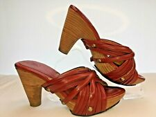 FRYE Reese Ladies Multi Slide Burnt Red Leather Platform Sandals UK 5 US 7 EU 38