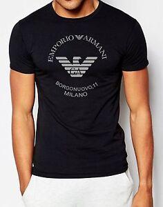 EMPORIO ARMANI Schwarz Herren T-shirt Straff sitzend tshirt E.A-Größe: M,L,XL