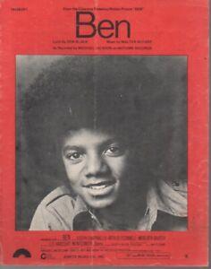 """MICHAEL JACKSON  Rare 1971 Australian Only OOP Original Pop Sheet Music """"Ben"""""""