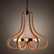 6 Bulbs Hemp Rope Chandelier Ceiling Pendant Lighting Light Fixture Drop Lamp
