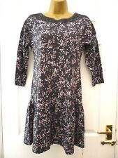 M&S Ladies Size 8 Grey Pink Floral Crochet Lace Boho 3/4 Sleeve Long Tunic NWT