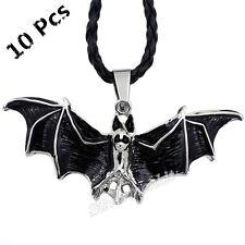 Wholesale 10 Pcs Vampire Bat Silver Men Women Pewter Black Pendant Necklace P222