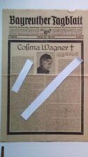 Historische Zeitung, Cosima, RichardWagner, Bayreuther Tagblatt, Festspiele