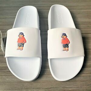 Polo Ralph Lauren Cayson Bear Pool Slides Men's Size 9 White Sandals