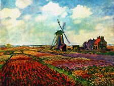 Tulips of Holland  by Claude Monet Giclee Fine Art Canvas Print