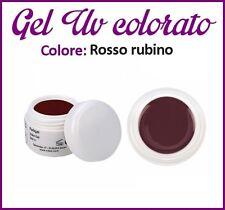 GEL UV NAIL ART COLORATI  RICOSTRUZIONE UNGHIE NAILS TIPS TIP 5ML ROSSO RUBINO