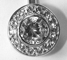 Stylish Bezel Set 1.5g Solid 14k WHITE Gold Belly Naval Ring D-Flawless 14 Gauge