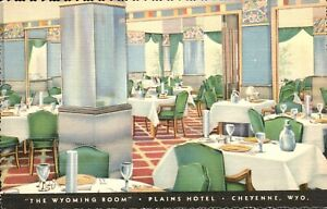 Postcard,Cheyenne,WY,Plains Hotel Interior,Wyoming Room, Wyoming's Largest,1940s