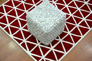 Handmade Pouf/Ottoman - Footstool,Comfortable Chair or Footrest - White
