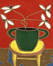 White Flowers Green Vase by David Venee - 9x12inch Needlepoint Canvas