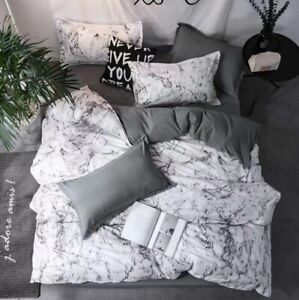 Doona Duvet Quilt Cover Pillowcase Set Double Queen King Size Grey White Marble