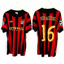 Manchester City Aguero Away Shirt 2011. Large 42. Umbro. Red Adults Man Top Only